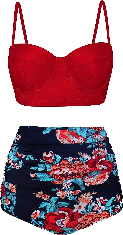 Angerella Mujer Retro Polka Punto Cintura Alta Traje de baño Bikini