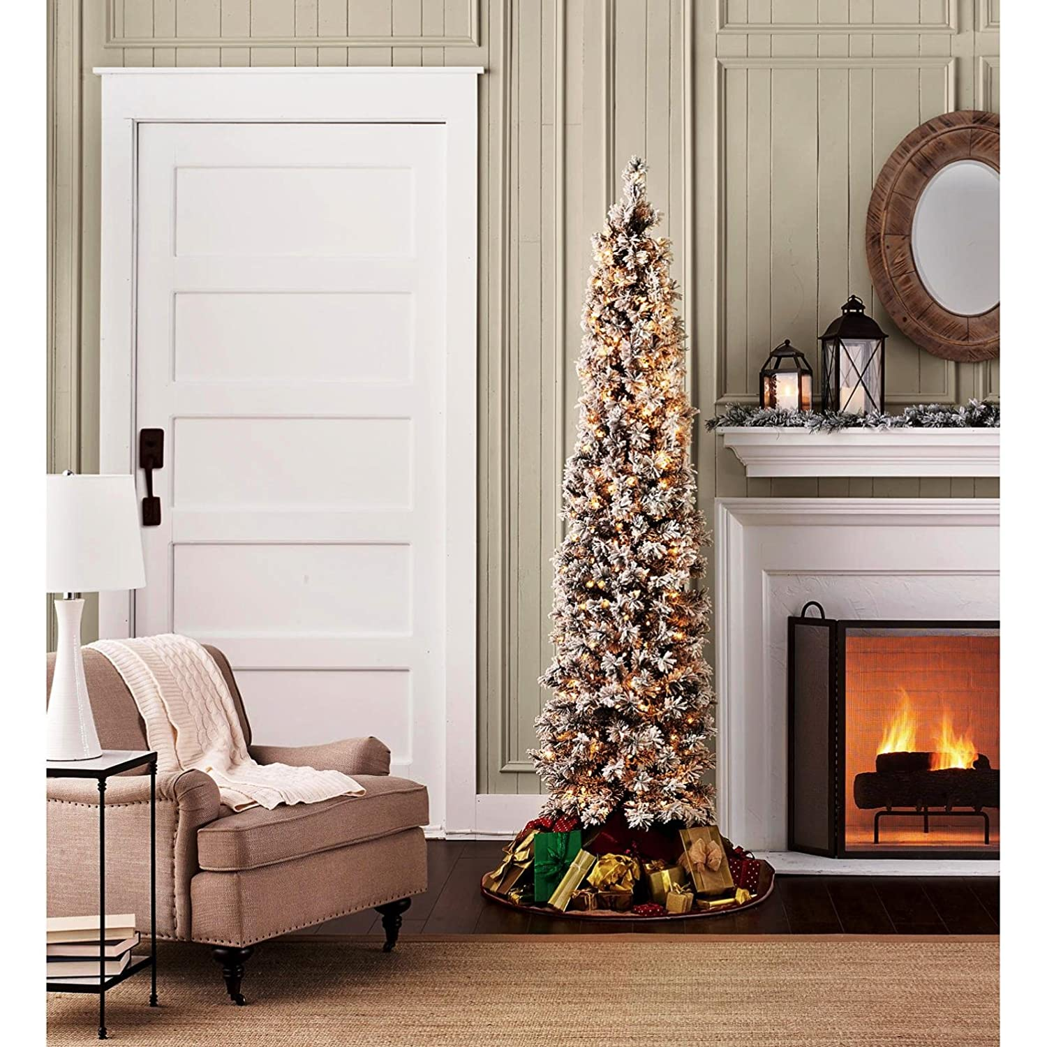 Amazon.com: Flocked Pencil Slim Christmas Tree 7ft With Stay Lit Lights.  FAST SHIPPING: Home U0026 Kitchen