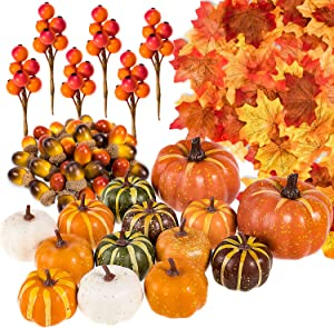 Whaline 160 Pcs Autumn Artificial Maple Leaves, Harvest Pumpkins, Gourds, Acorns and Orange Berry Stems Set, Fall and Thanksgiving Home Table Decoration Halloween Party Decor