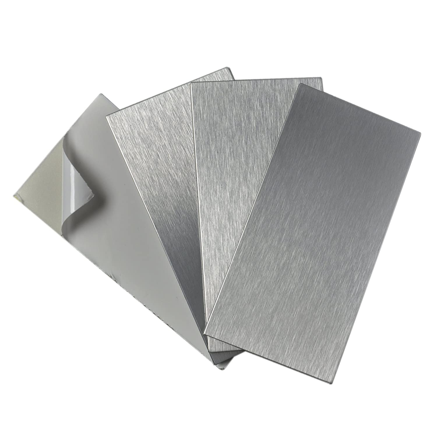 Art3d 4-Pieces Peel and Stick Stainless Steel Backsplash Tiles, 3' x 6' Brushed Metal 3 x 6 Brushed Metal A16021P4