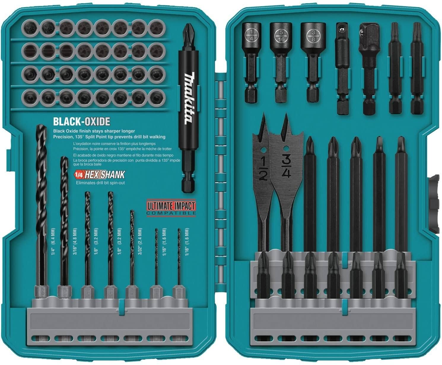 Makita T-01725 Contractor-Grade Bit Set, 70-Pc - Jobber Drill Bits -