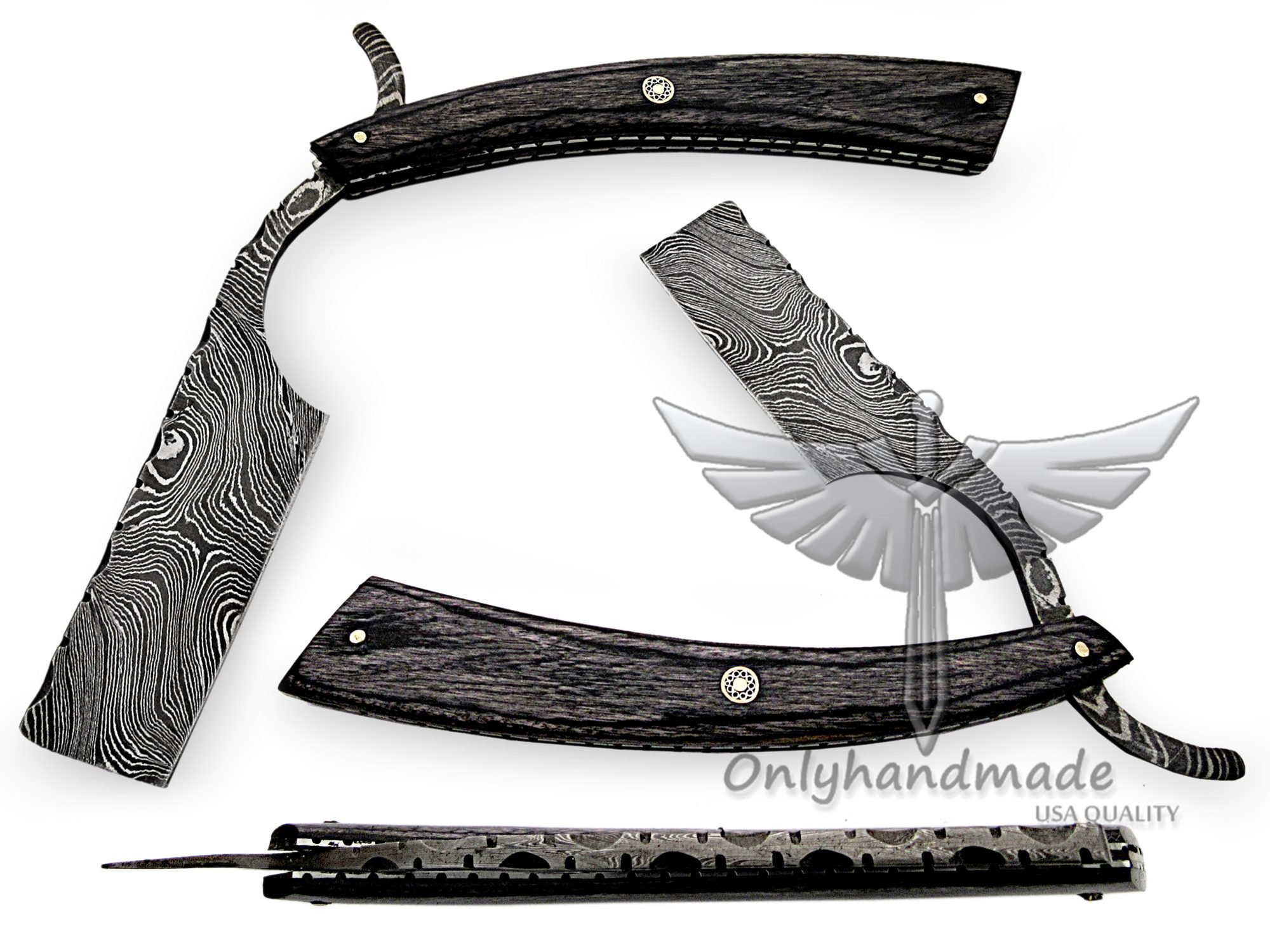 Black Wood/100% Handmade custom Damascus steel straight razor/shaving razor/special handle and leather sheath 05100