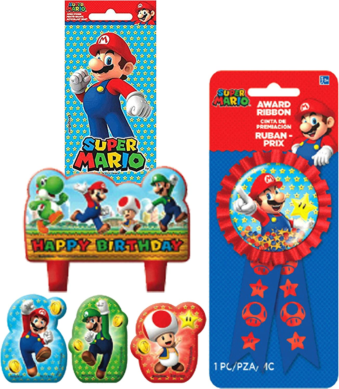Pleasing Amazon Com Super Mario Brothers Birthday Cake Candle Set Personalised Birthday Cards Veneteletsinfo