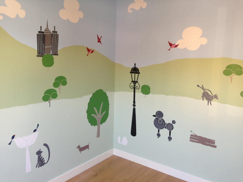 amazon com my wonderful walls cat and dog wall mural stencil kit