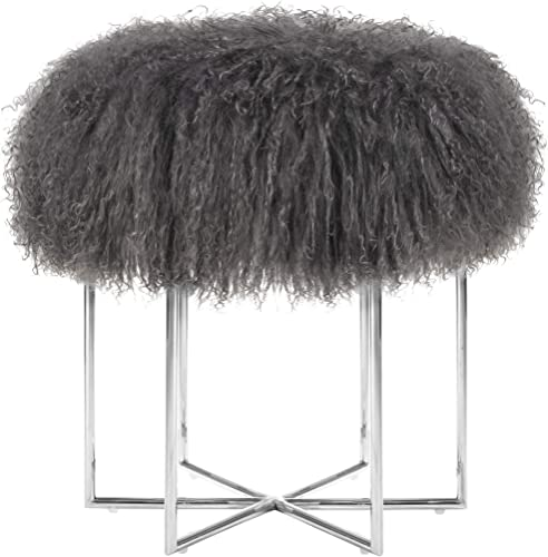 MEXIYA Bailey Grey Real Sheepskin Mongolian Fur Ottoman