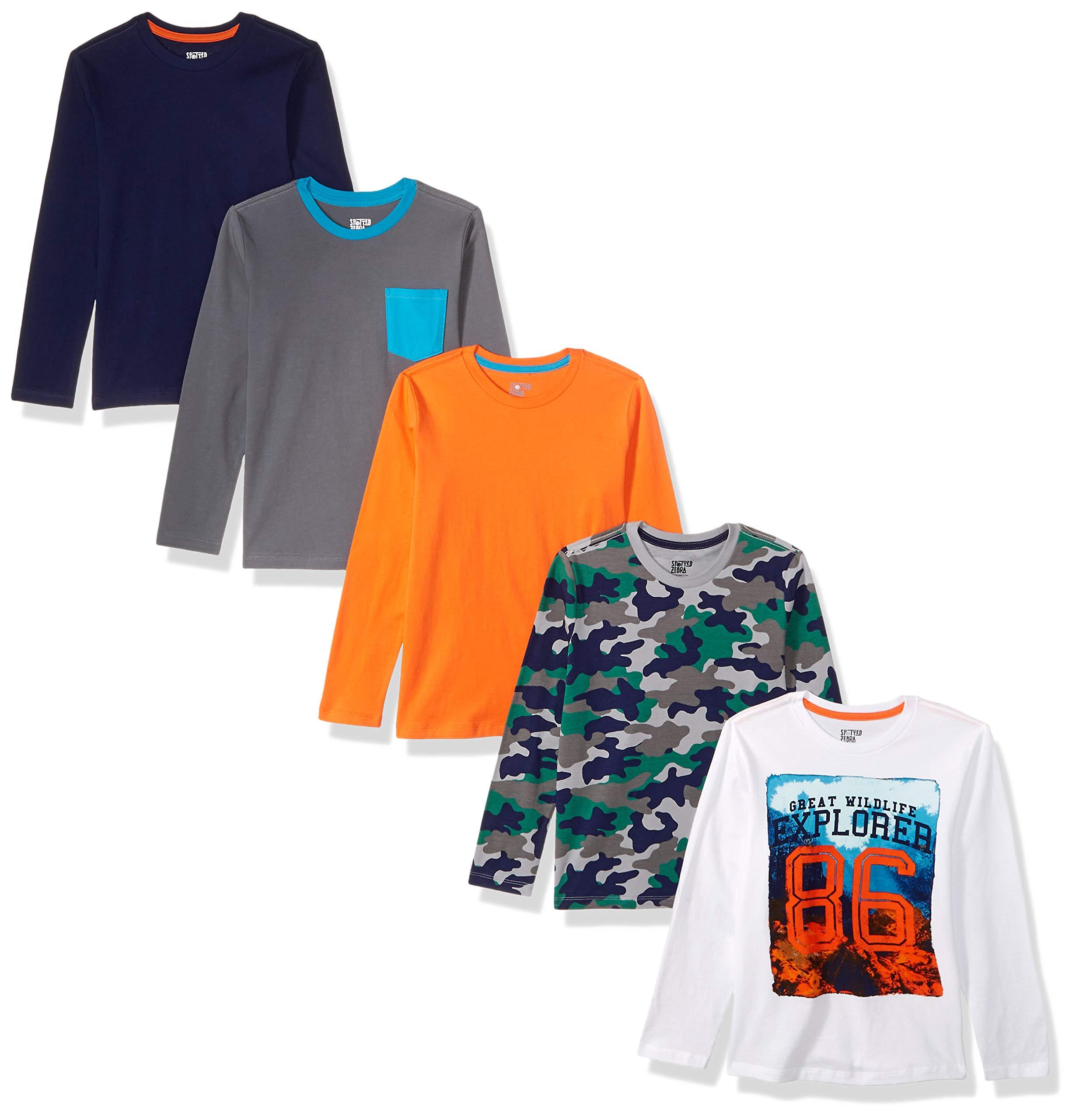 Spotted Zebra Little Boys' 5-Pack Long-Sleeve T-Shirts, Explorer, Small (6-7)