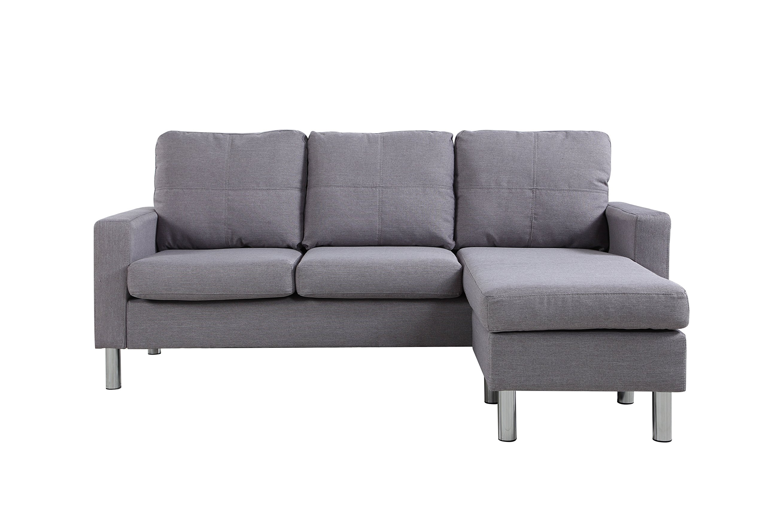 Moderne Livinf EXP16-LGR Modern Living Reversible Linen Fabric Sectional Sofa, Light Grey -  - sofas-couches, living-room-furniture, living-room - 81CtP7e2JqL -