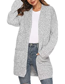 joyliveCY Women s Knit Cardigan Sweater Long Sleeve Open Front Cardigans  Loose Sweater with Pockets 351f251d2
