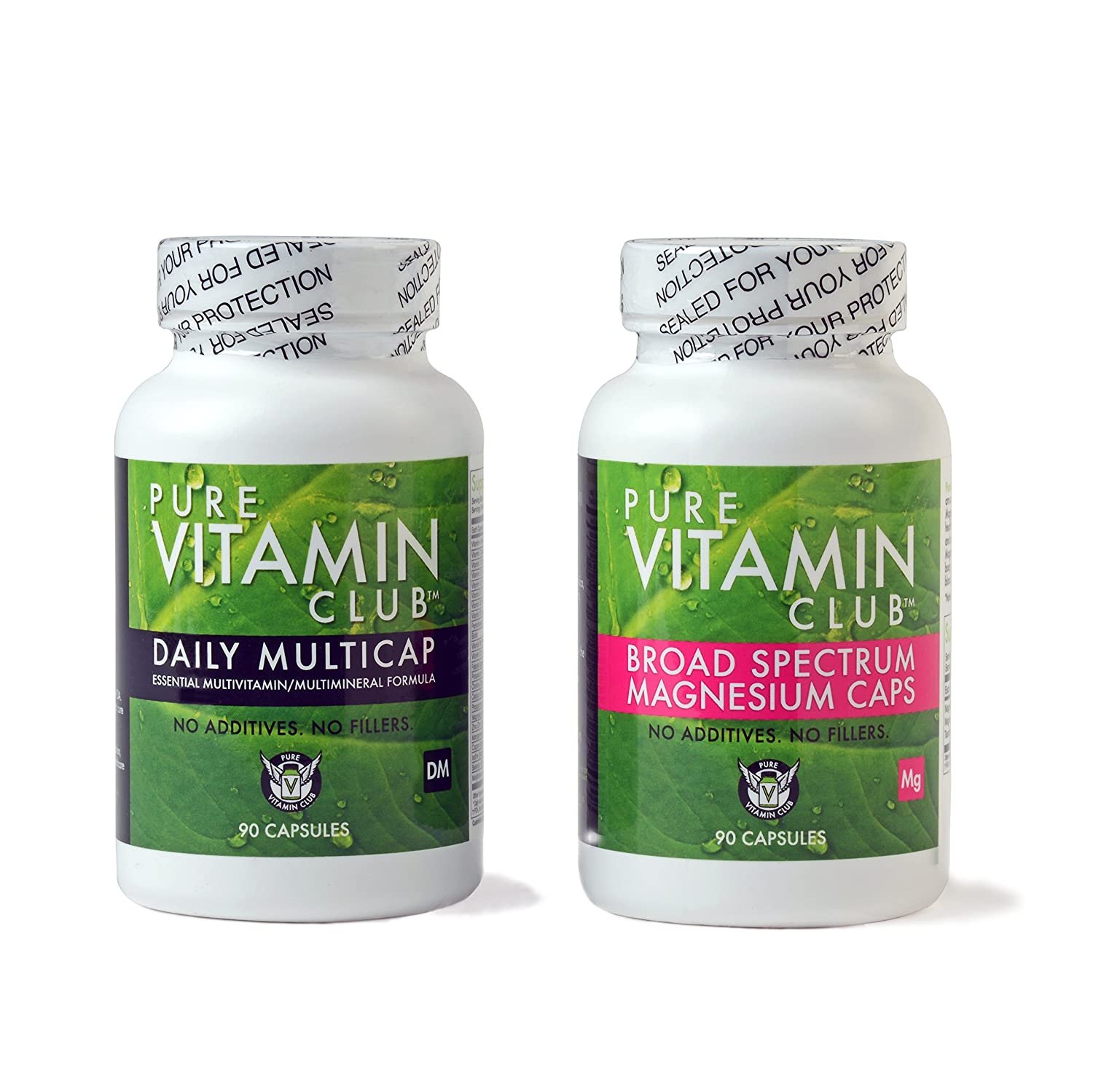 Daily Multivitamins and Magnesium Cap Bundle – NO Fillers, NO Binders, NO Added Ingredients. Perfect Blend of Vitamins and Minerals Plus Broad Spectrum Magnesium Caps with Blend of 4 Magnesium Forms.