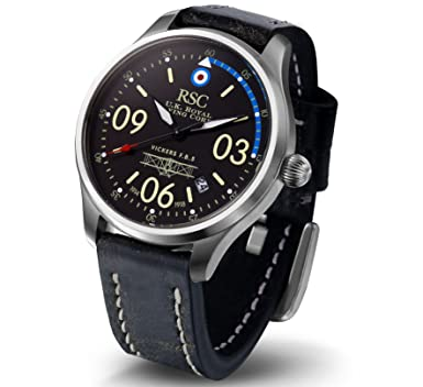RSC Pilot Watches Mens Analogue Quartz Watch with Leather Bracelet Vickers F.B. 5 rsc202