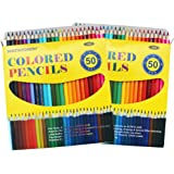 SKKSTATIONERY 100Pcs Colored Pencils,50 Vibrant Colors, Drawing Pencils for Sketch, Arts, Coloring Books(2 box)