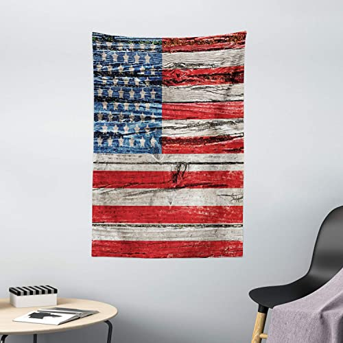 Ambesonne USA Tapestry, Fourth of July Independence Day Painted Wooden Panel Wall Looking Image Freedom, Wall Hanging for Bedroom Living Room Dorm Decor, 40 X 60 , Red Blue