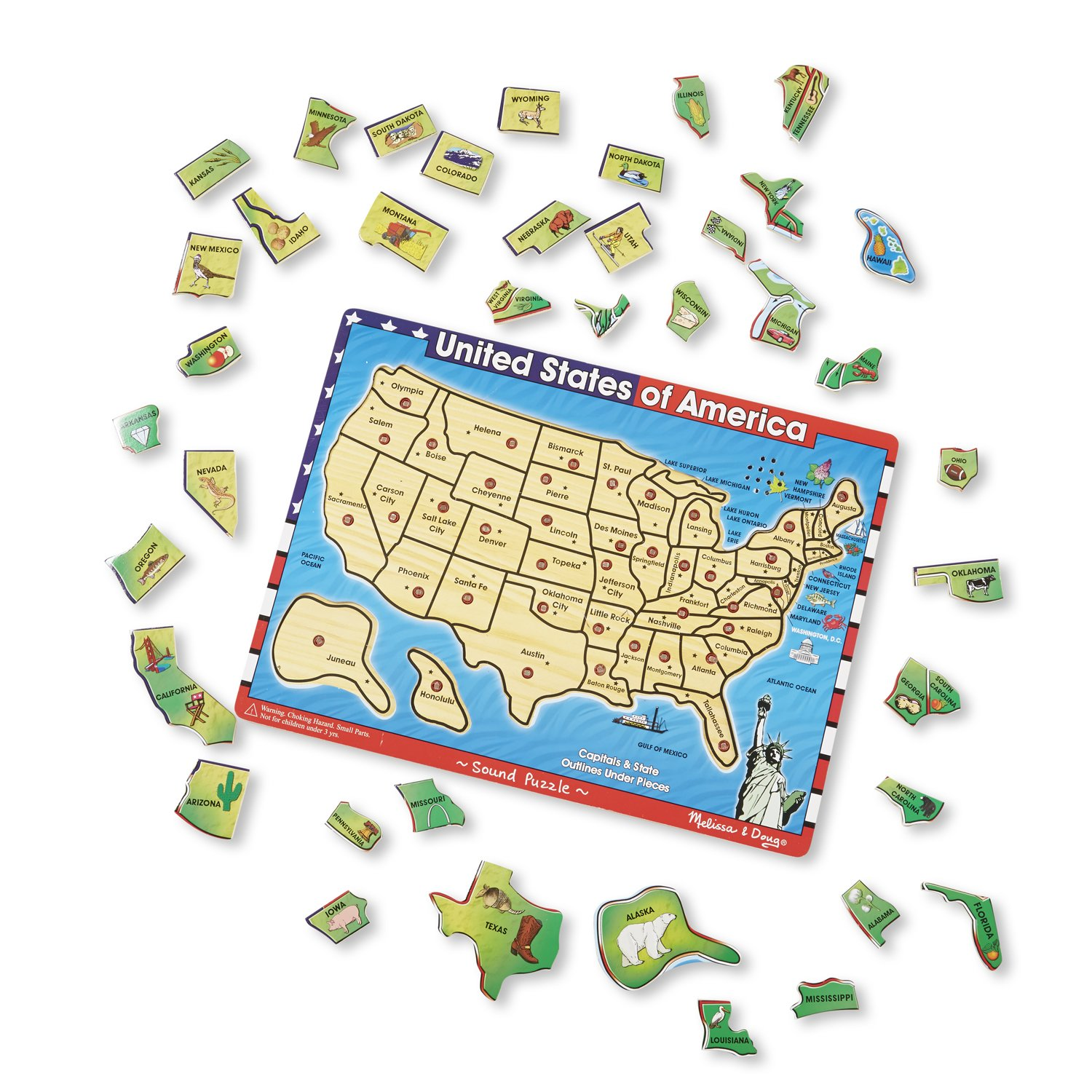 40 Pieces, Wooden Sound Puzzle Helps you Learn About the 50 States and their Capitals