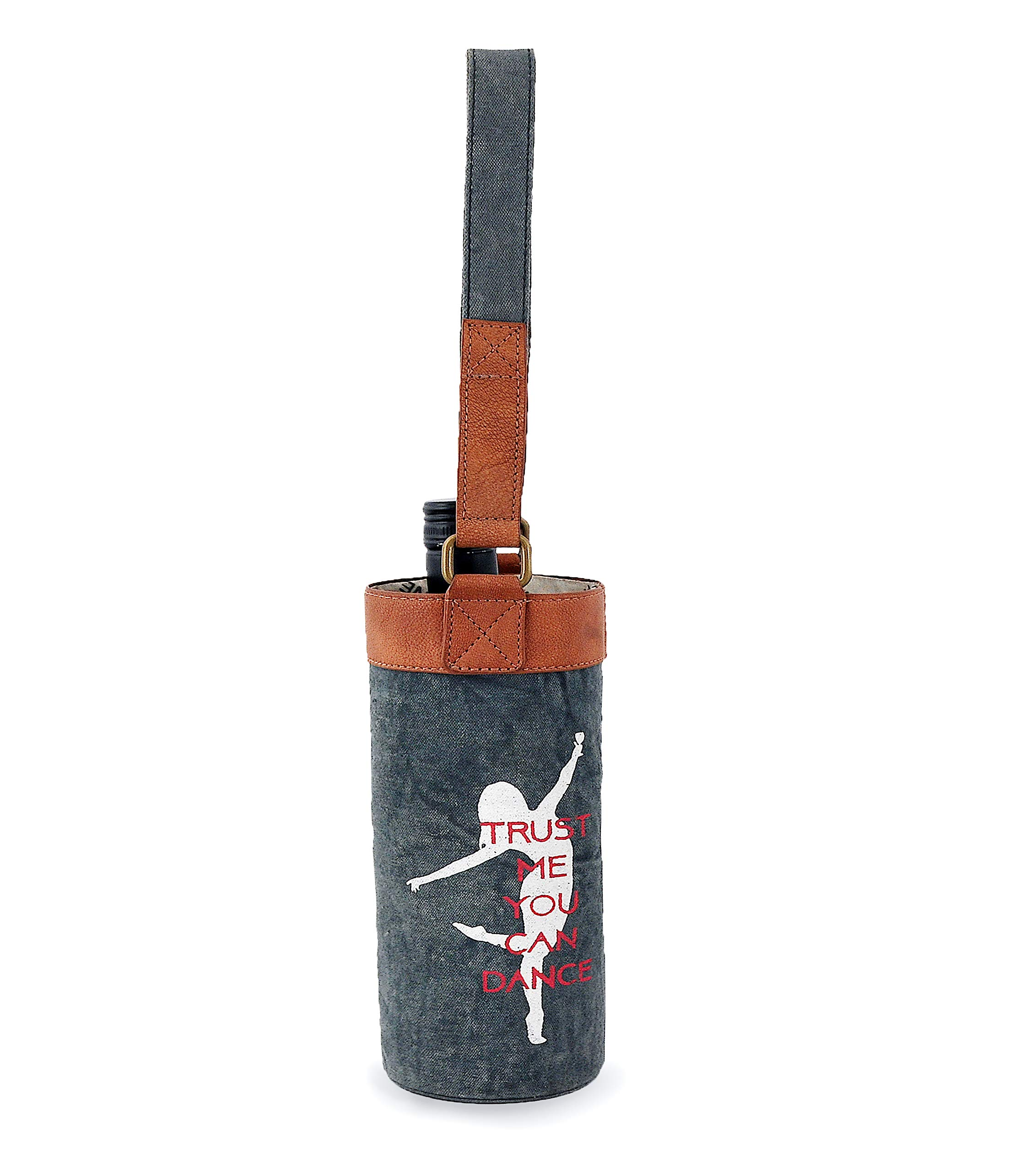 Wine Bag Carrier Holder Cover, Perfect for parties, Made of Canvas and Leather, Eco friendly bag, Handcrafted by Daphne (Dance)