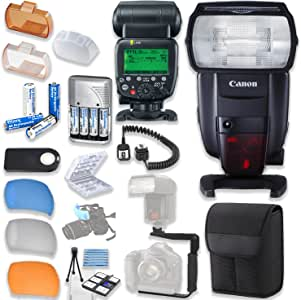 Canon Speedlite 600EX II-RT Flash with Canon Speedlite Case + TTL Cord + Flash L-Bracket + Flash Diffusers + 4 High Capacity AA Rechargeable Batteries & Charger + Accessory Bundle