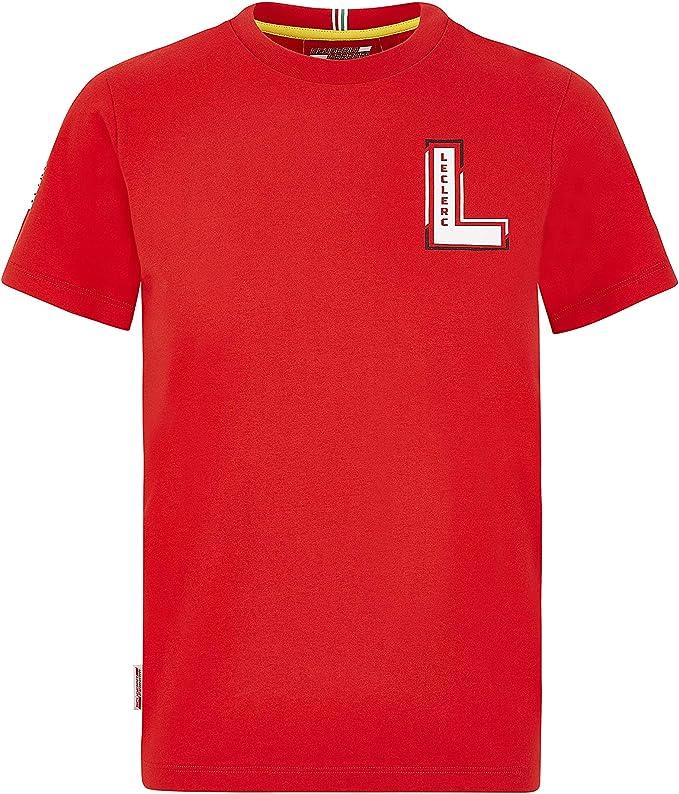 Charles Leclerc T-Shirt Homme Coton Rouge Scuderia Ferrari Marchandise Officielle de Formule 1 2020