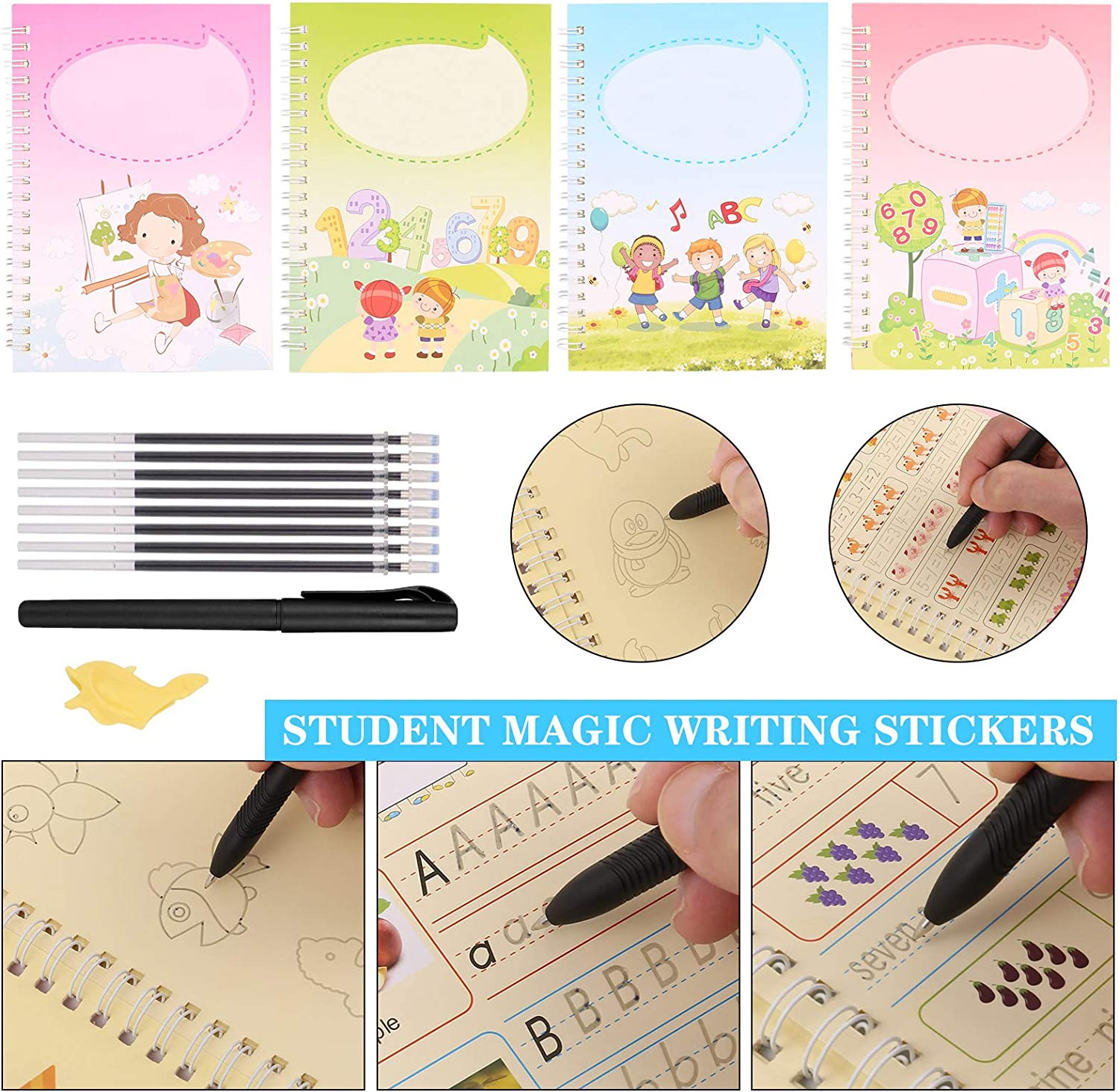 That Can Be Reused Handwriting Kindergarten Groove Copybook for Kid Students Calligraphic Letter Writing with Pen JOELELI Magic Writing Paste Magic Calligraphy