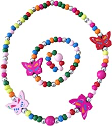 SMITCO Kids Jewelry - for Little Girls and Toddlers To Play Dress Up - Stretch Butterfly Necklace, Ring and Bracelet Set