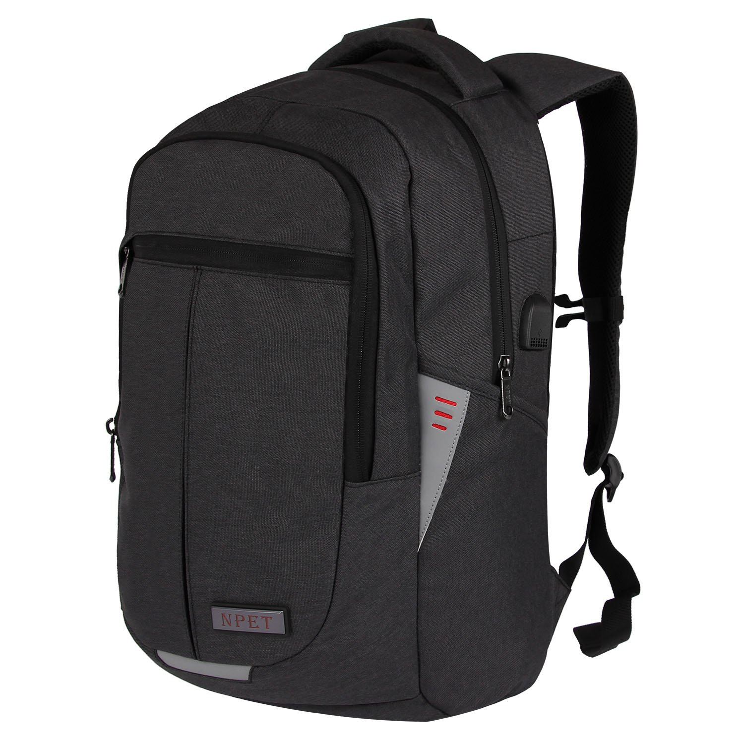Business Laptop Backpack, NPET Anti-Theft Waterproof Travel Backpack with USB Charging Port High-Visible Reflective Strip Survival Whistle College School Bookbag for Women & Men - Grey Thoth E-commerce Co. Ltd TTUS-CABPBS010GY