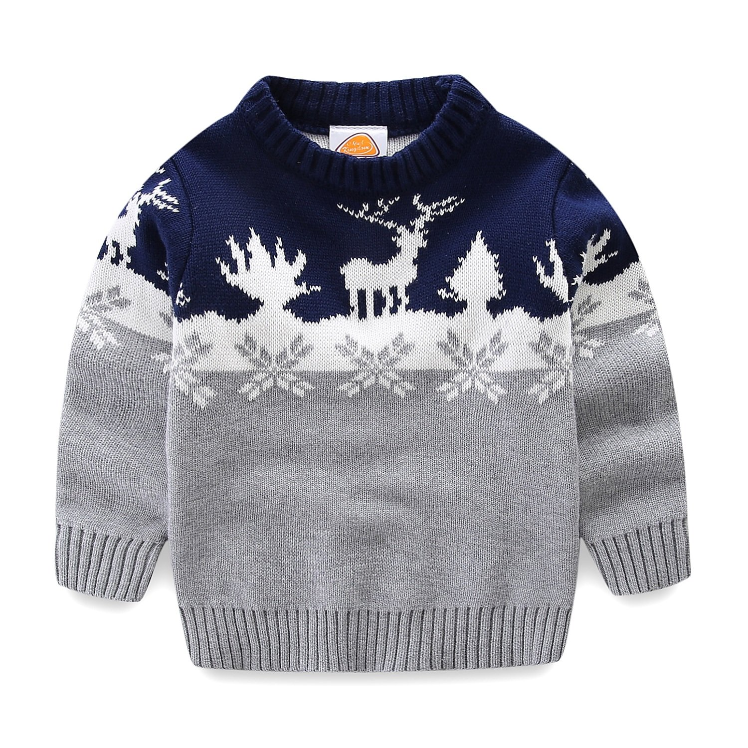 Mud Kingdom Little Boys Christmas Sweaters Xmas Deer Clothes 6 Gray