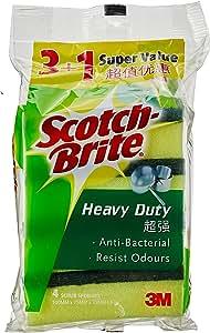 Scotch-Brite 213VP Heavy Duty Sponge, Green/Yellow, Pack of 4
