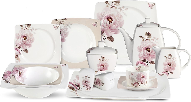 Lorenzo 57 Piece Elegant Bone China Service for 8 Sophie Dinnerware Sets, Multicolor