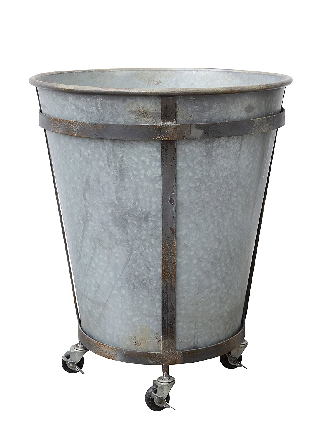 Rustic tin planter on casters for French farmhouse and European country gardens and interiors.