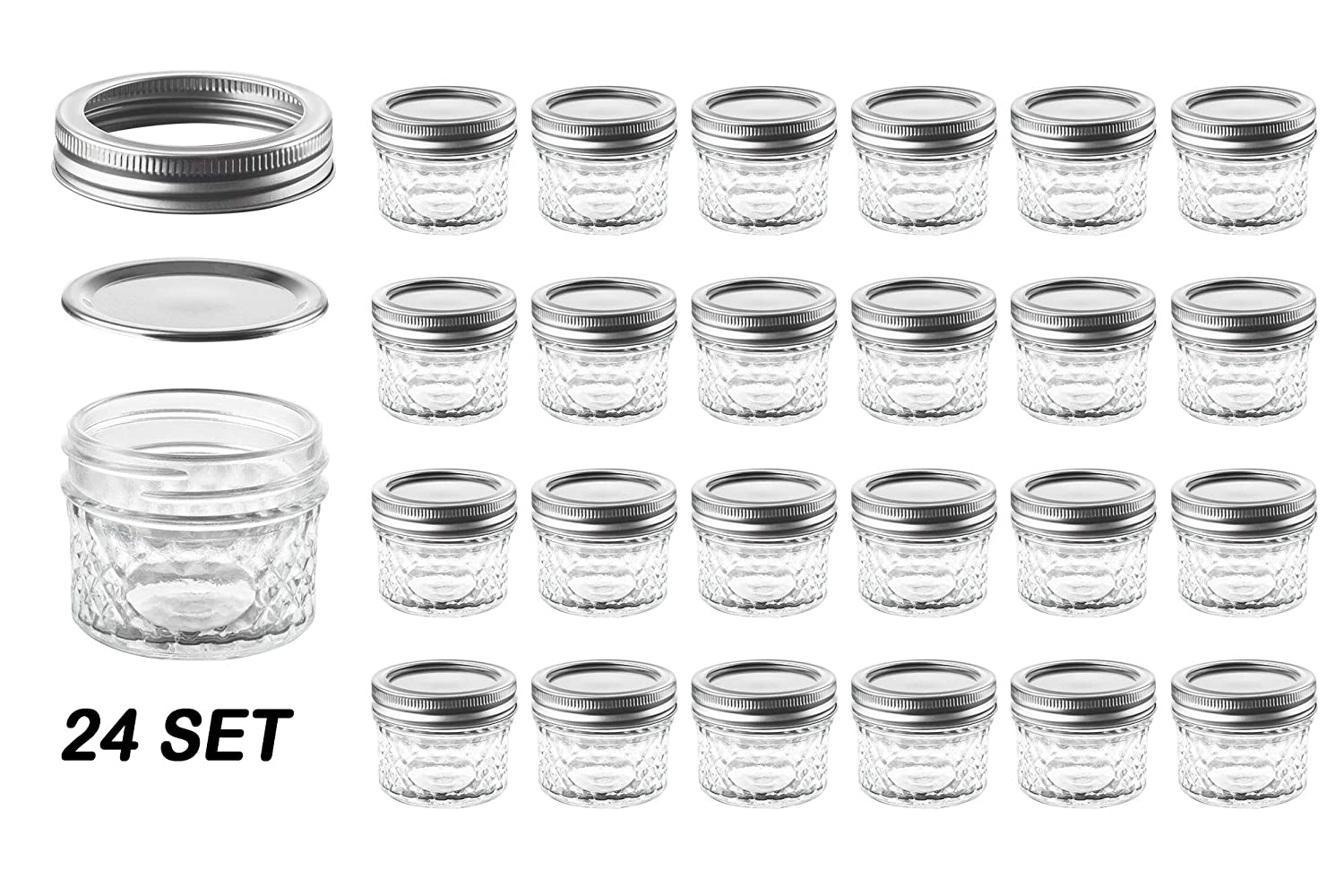 Nellam Quilted Glass Jars with Lids - 4 OZ Wide Mouth Crystal Jelly Glasses, Set of 24 Silver, for Canning, Preserving Food - each Mini Mason Jar is Freezer, Microwave, and Oven Proof