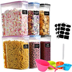 GoMaihe 4L Cereal Containers Storage set 6-Piece, Plastic Food Storage Containers with lids Airtight, Food Storage Containers Suitable for Food, Cereal, Kitchen Pantry Organization and Storage