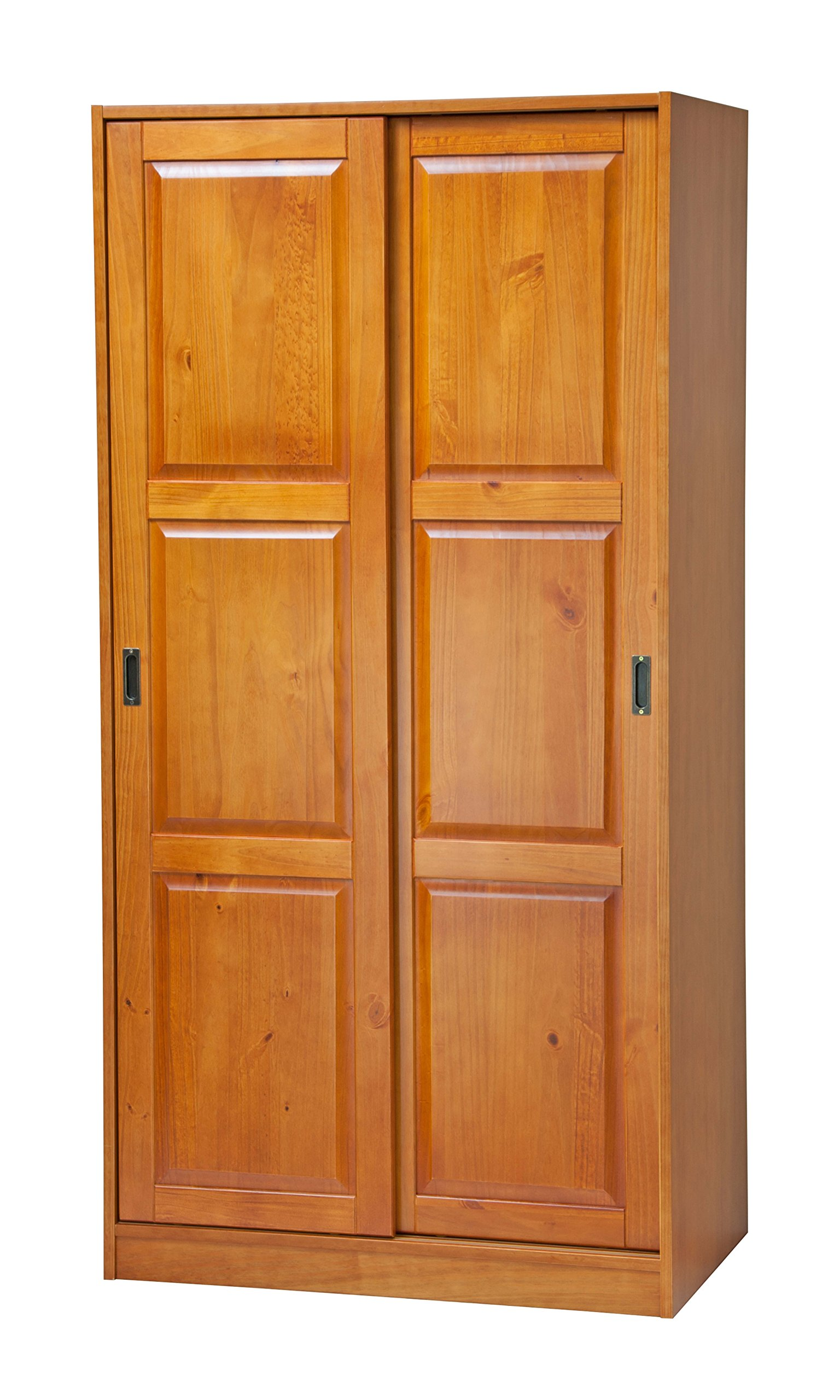 100% Solid Wood 2-Sliding Door Wardrobe/Armoire/Closet/Mudroom Storage by Palace Imports, Honey Pine. 1 Large Shelf, 1 Clothing Rod Included. Extra Optional Shelves Sold Separately. Requires Assembly by Palace Imports