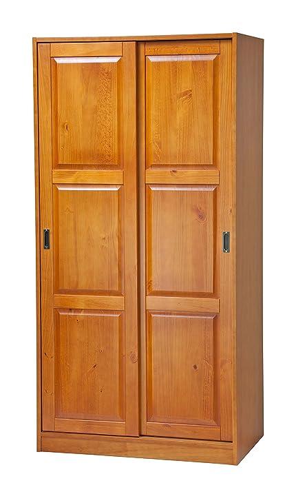 100% Solid Wood 2 Sliding Door Wardrobe/Armoire/Closet/Mudroom Storage