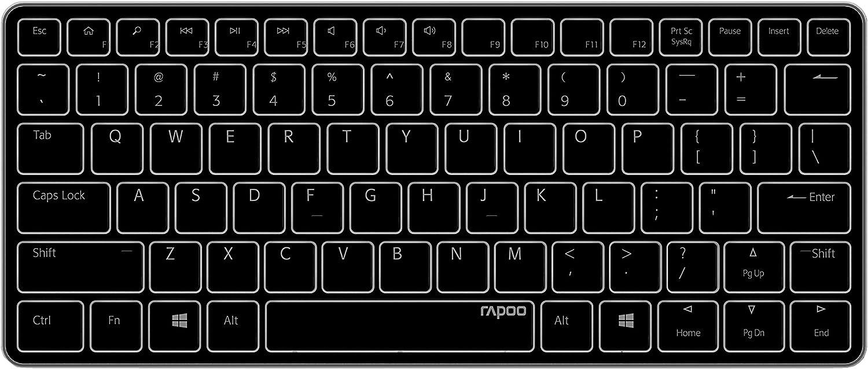 Rapoo E6350 - Teclado (Mini, Inalámbrico, Bluetooth, Interruptor de Membrana, QWERTZ, Blanco)