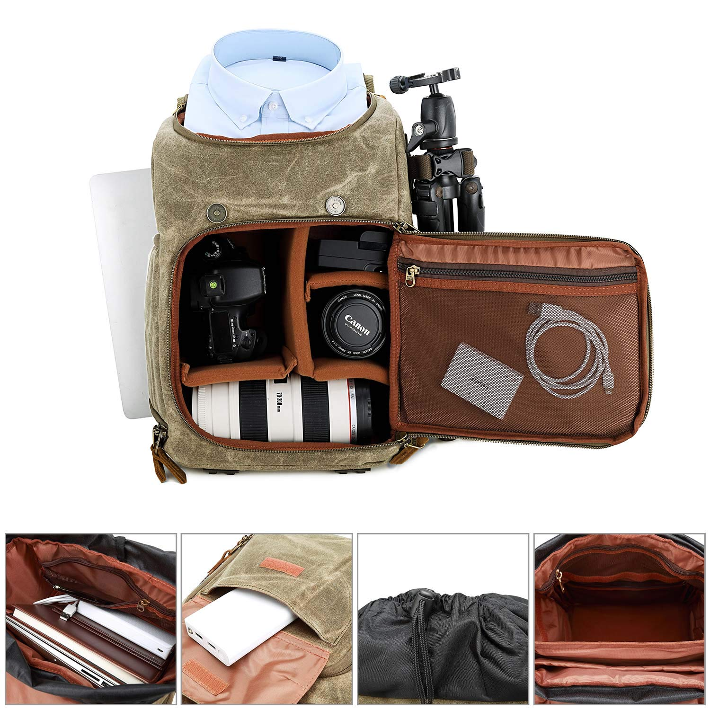 Kaki-02 BAIGIO Sac /à Dos Appareil Photo R/éflex Vintage Sac DSLR Sac de Voyage Imperm/éable pour DSLR Canon Nikon Sony Olympus