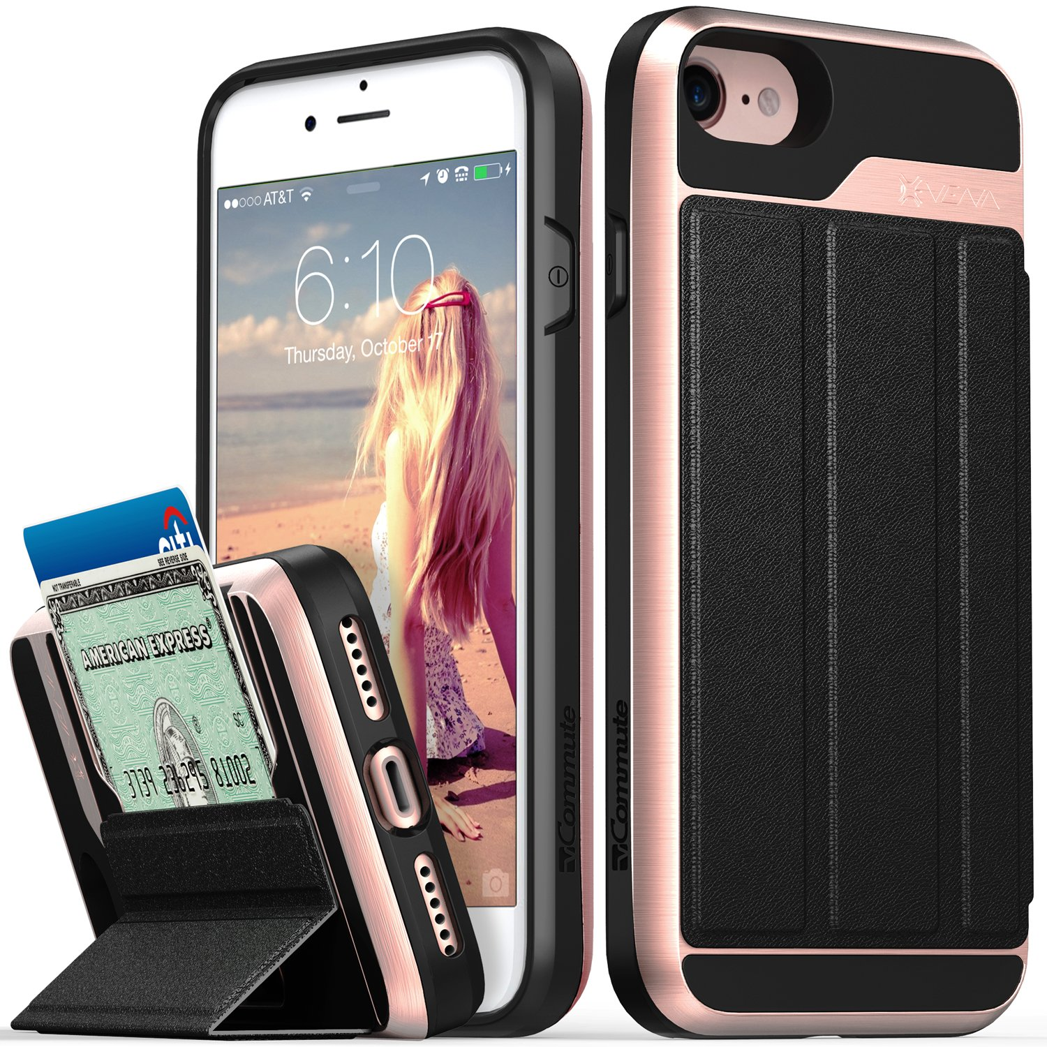 iPhone 8 Wallet Case, iPhone 7 Wallet Case, Vena [vCommute][Military Grade Drop Protection] Flip Leather Cover Card Slot Holder with KickStand for Apple iPhone 8 / iPhone 7 (Rose Gold/Black) by Vena (Image #1)