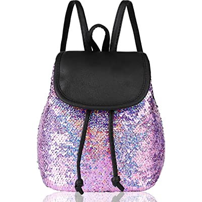 yisi Flip Sequins Mini Backpack Small Backpack Purse for Teen Girls Gift for School (violet): Clothing
