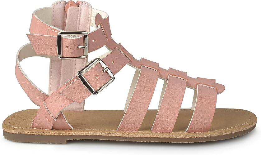 Link Katia 50K Little Girls Strappy Buckled Fringe Gladiator Flat Sandals Tan
