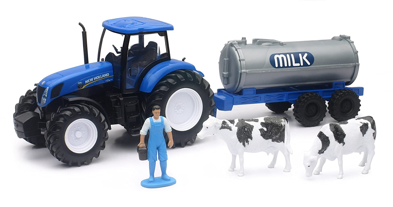 Amazon com: New Ray New Holland T7 270 Tractor + Milk Butt