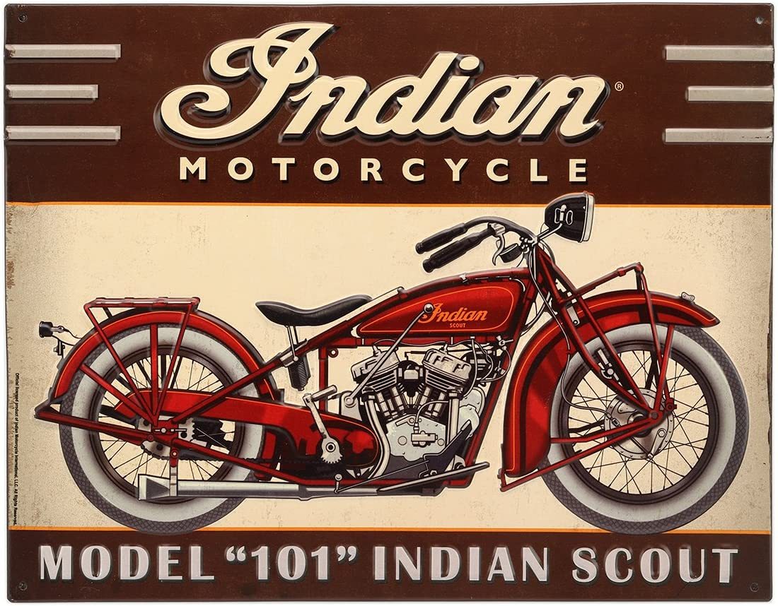 Open Road Brands Indian Motorcycle Brown Vintage Metal Tin Sign Wall Art with Red Motorcycle - an Officially Licensed Product Great Addition to Add What You Love to Your Home/Garage Decor