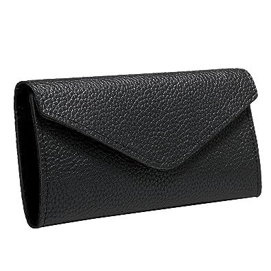 JewelryWe Cartera de mujer, bolso largo cierre ancha a carpeta, bolsa monedero de PU piel 3 colores Negro: Amazon.es: Joyería