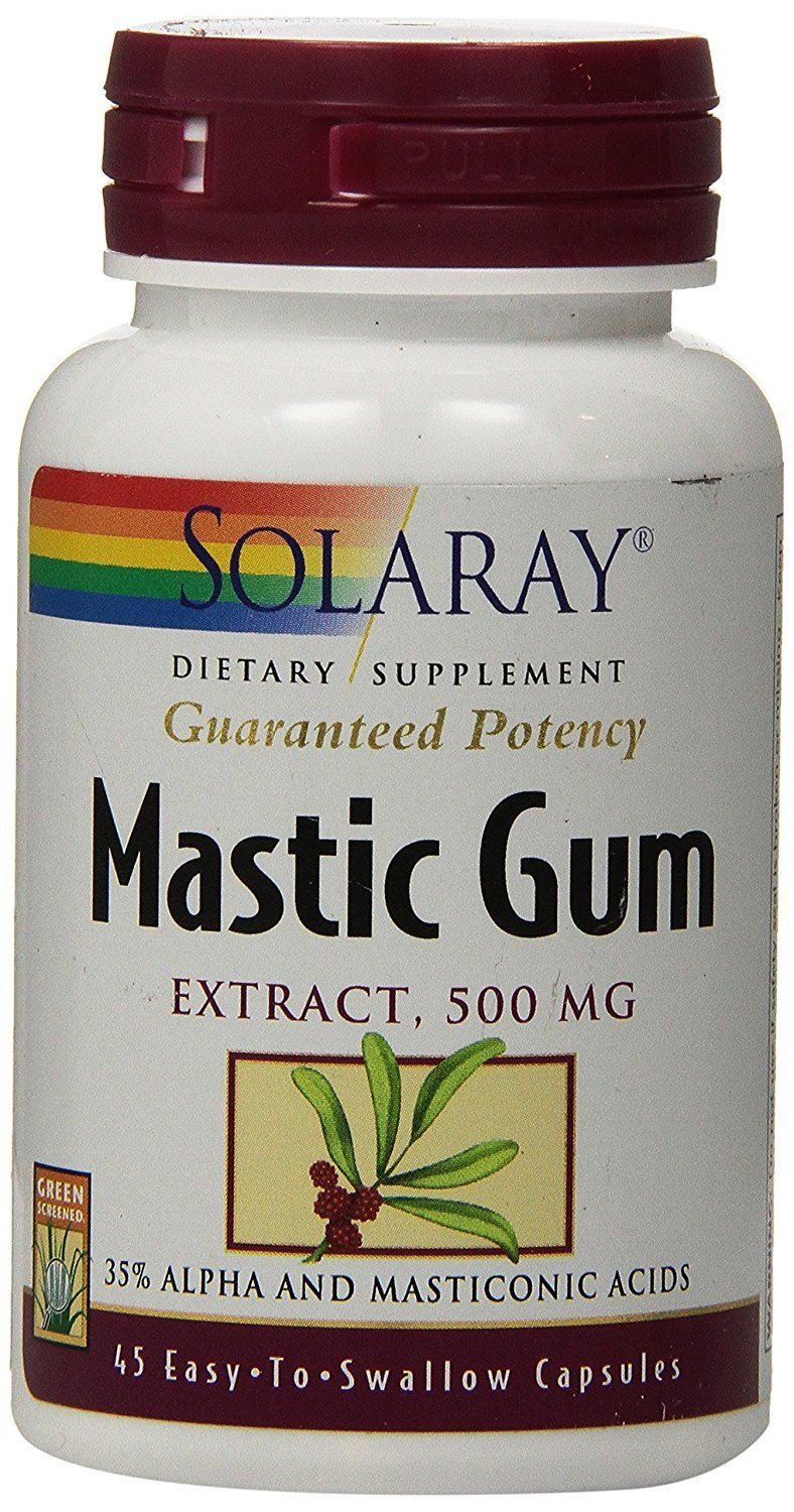 Solaray Mastic Gum Extract   Healthy Gastrointestinal and Digestive Function Support   1000 Mg   45 VegCaps, 22 Servings
