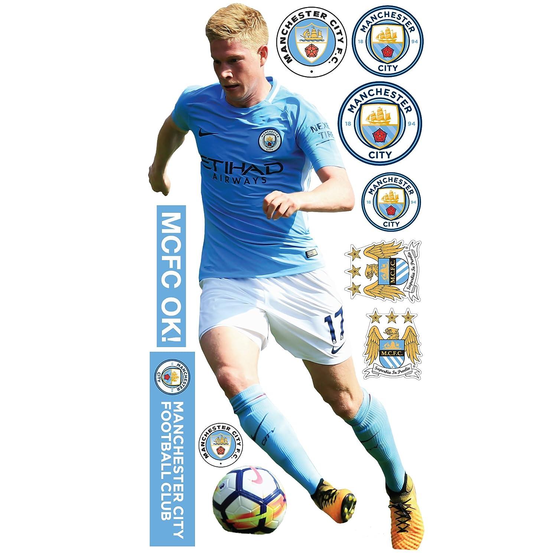 Bonus Wall Sticker Set Decal Vinyl Poster Print Mural Official Manchester City FC 181cm Height Kevin De Bruyne 2018 Player Decal