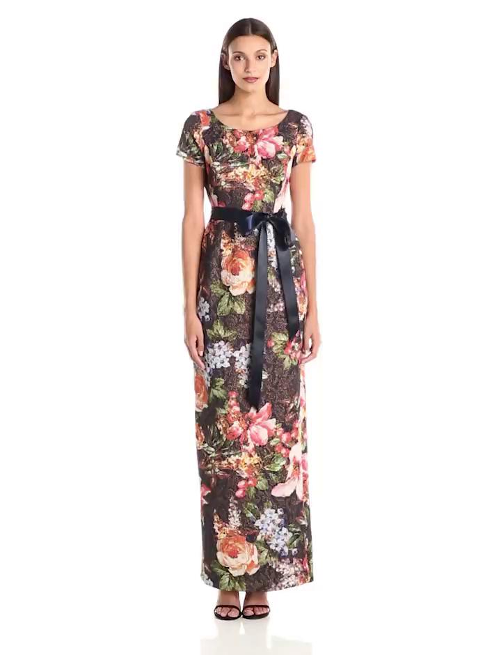 Amazon.com: Adrianna Papell Women\'s Cap Sleeve Floral Print Metallic ...