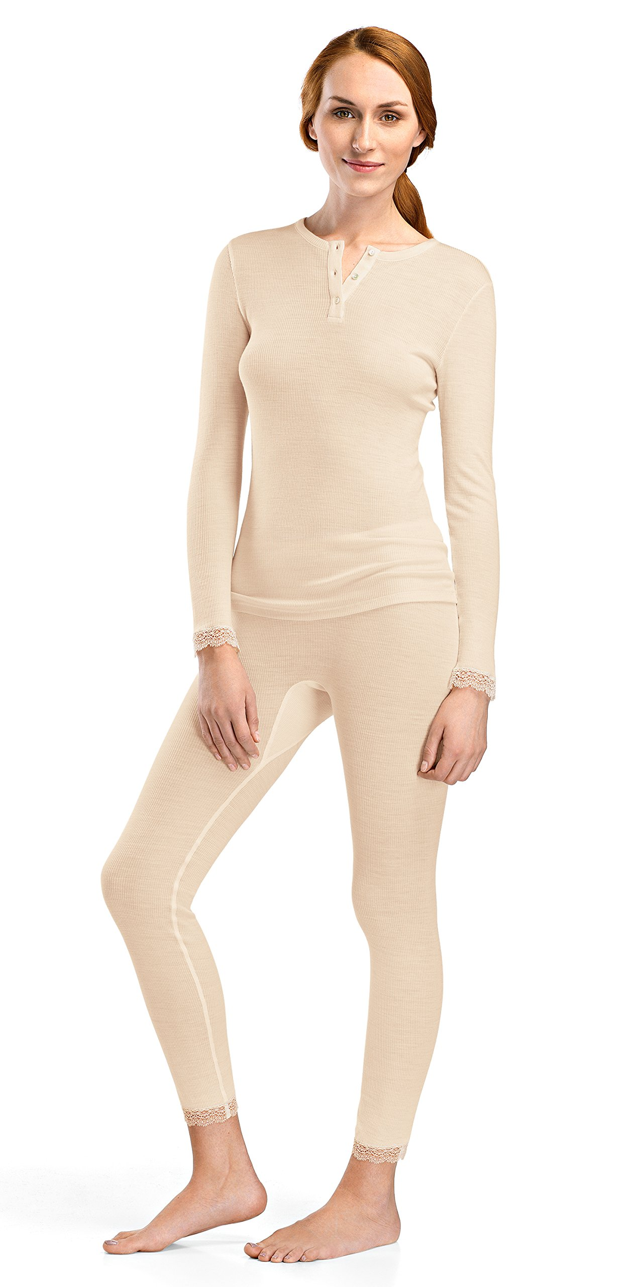 Hanro Women's Woolen Lace Long Sleeve Henley Shirt, Vanilla, Small