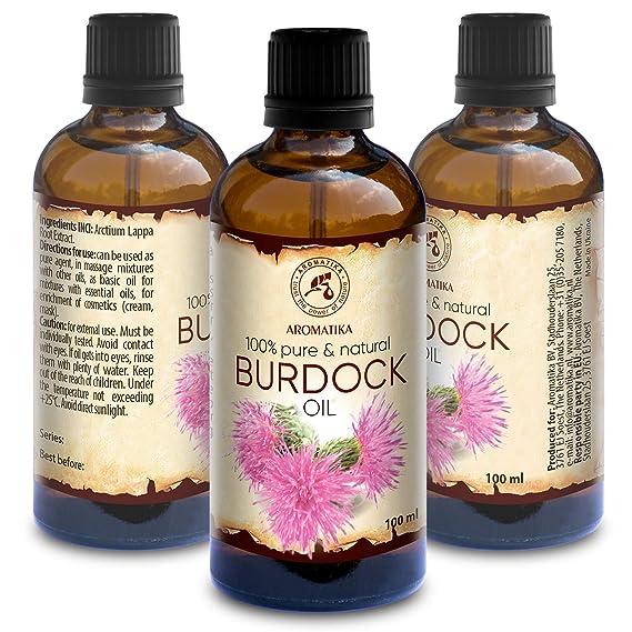 Aceite de Bardana 100ml - Arctium Lappa Root - 100% Puro & Natural - Mejor Aceite para el Cabello - Piel - Rostro - Cuidado Corporal - Botella de Vidrio ...
