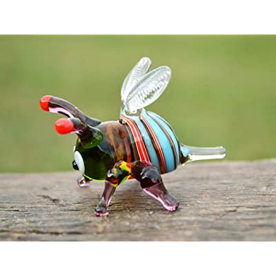 glass animals art glass bee hand blown glass bee murano bee figure glass honey bee glass insect bee ornament Glass bee figurine