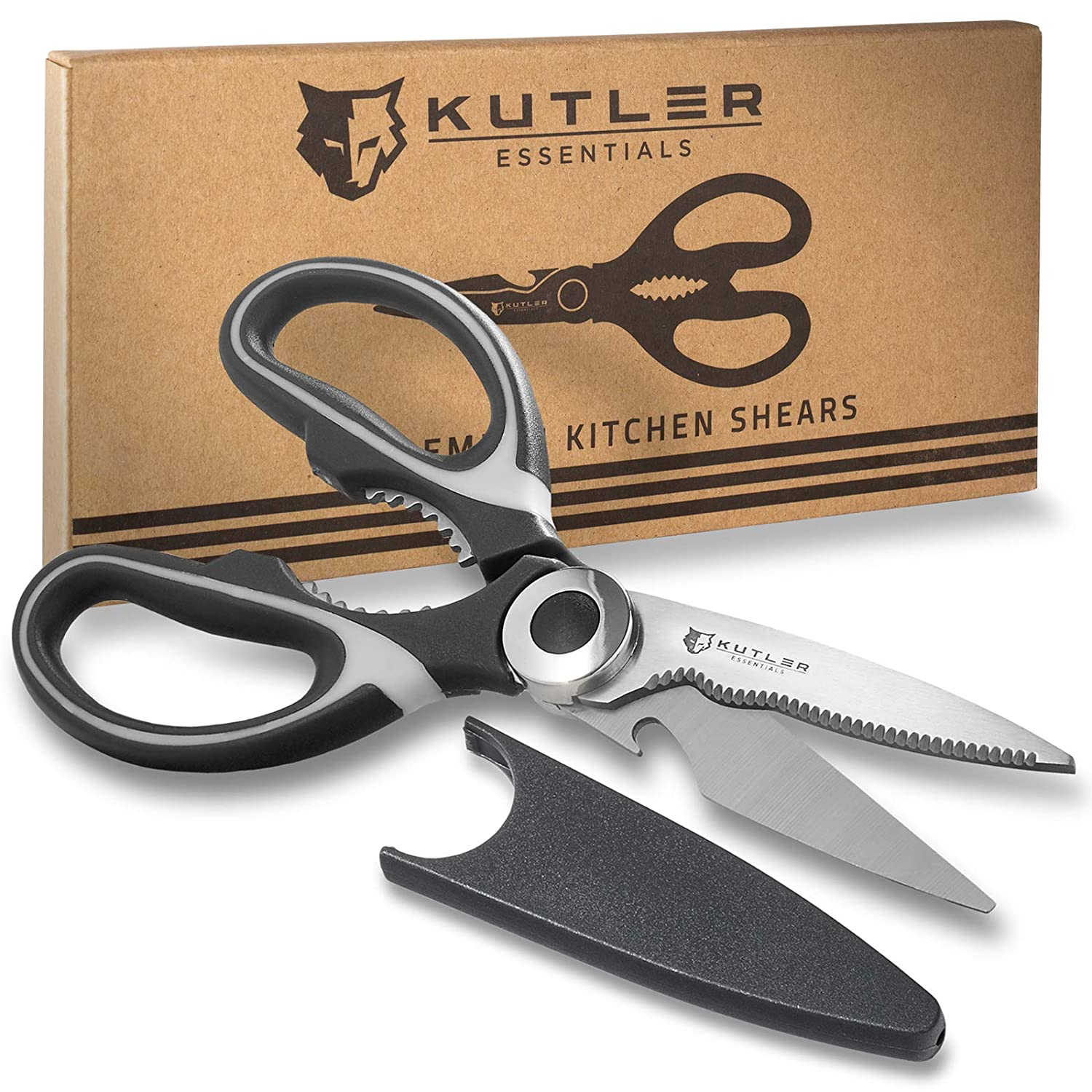 """KUTLER 8"""" Premium Kitchen Shears - Ultra Sharp Stainless Steel Blades - Multipurpose Scissors for Cutting Herbs, Meats, Poultry, Vegetables & More"""