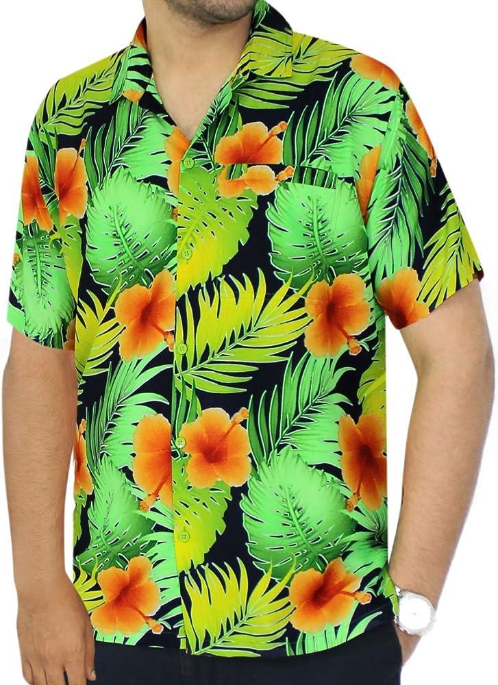 LA LEELA Casual Hawaiana Camisa para Hombre Señores Manga Corta Bolsillo Delantero Surf Palmeras Caballeros Playa Aloha 6XL-(in cms): 172-178 Calabaza Naranja_W332: Amazon.es: Ropa y accesorios