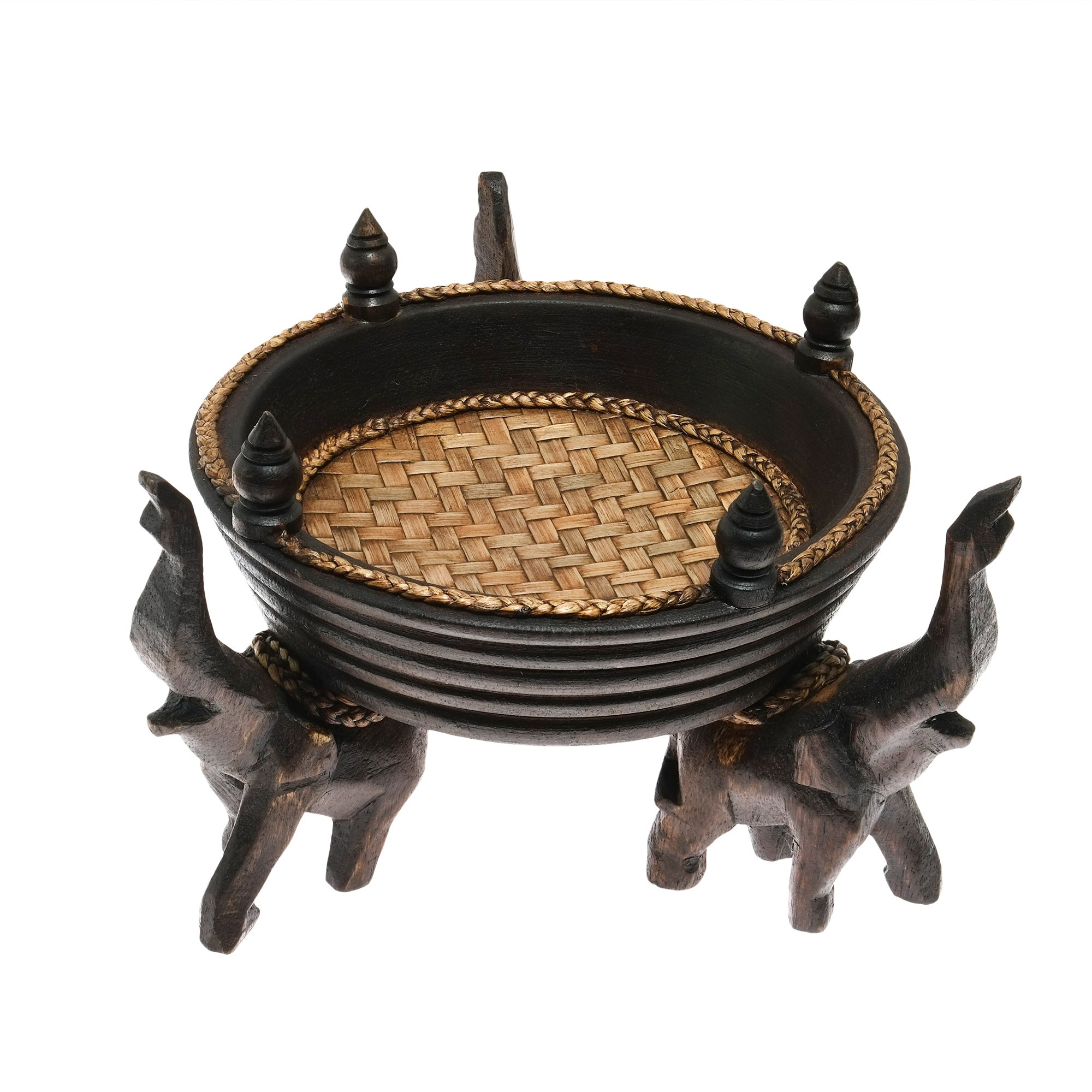 AeraVida Victorious Elephant Trio Artisan Carved Wood Round Tray