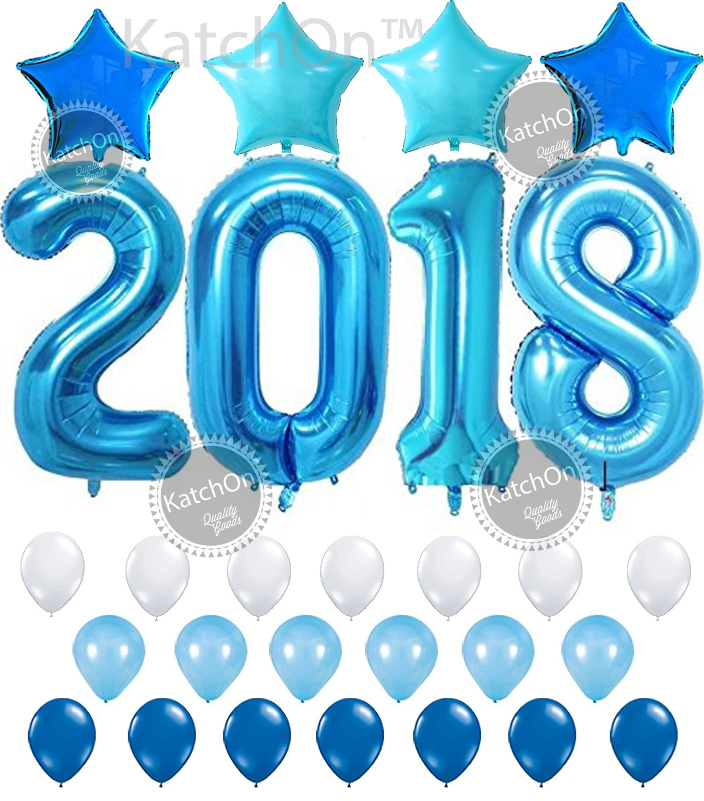 KATCHON 2018 Blue with Blue Stars Set 2018 Blue Balloons for New Years Eve and Graduations Party Supplies - Large, 2018 New Years Eve Party Supplies Decorations - Graduation Party Supplies