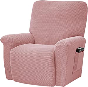 HKPLDE 4-Pieces Stretch Recliner Cover Furniture Protector Recliner Slipcover with Elastic Bottom Kids, Spandex Jacquard Fabric Small Checks-Pink